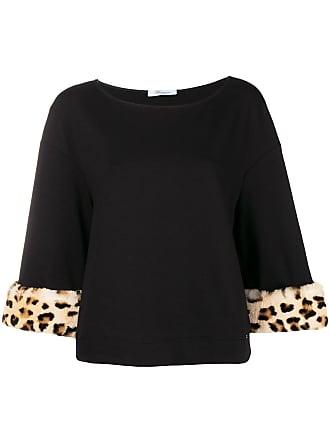 Blumarine Blusa de moletom com estampa de leopardo no punhos - Preto