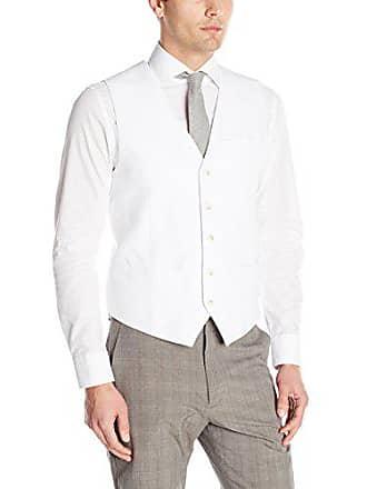 Perry Ellis Mens Linen Suit Vest, Bright White, Large
