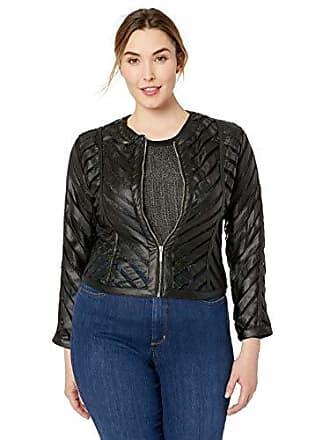 Yoki Womens Plus Size Faux Leather Mesh Jacket, Black, 3X