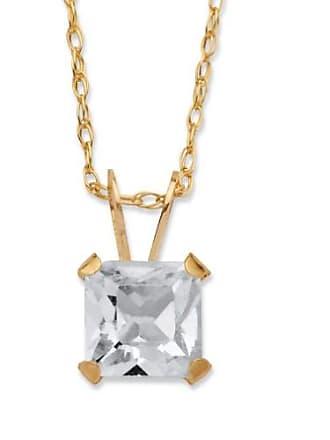 PalmBeach Jewelry Princess-Cut Birthstone Pendant Necklace in 10k Gold - April- Simulated Diamond