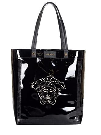 c4ad3983b821 Versace Womens Faux Patent Leather Medusa Head Tote Bag DBFB176 DTVET Black
