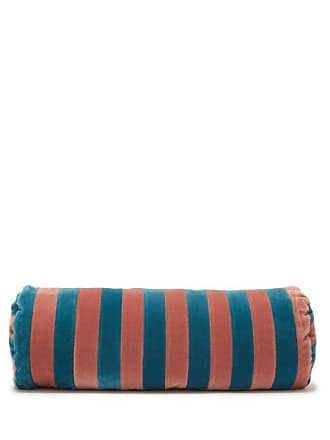 Christina Lundsteen Cylindrical Striped Cotton-velvet Bolster Cushion - Blue Multi