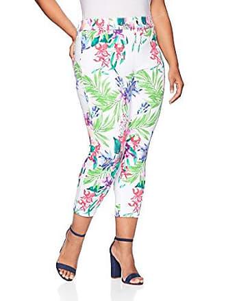 Hue Womens Plus Size Tropical Orchid Essential Denim Capri Leggings, White, 2X