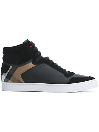 1ad91b58be8 Burberry Leather and House Check Hi-top Sneakers - Black