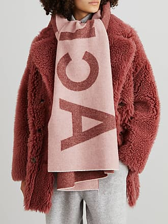 Acne Studios Woll-Schal Toronty mit Logoprint Pink/Bordeaux