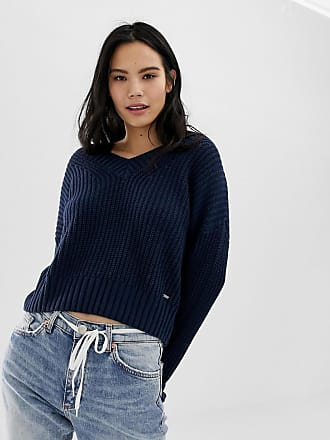 Hollister deep v stripe knit sweater - Navy