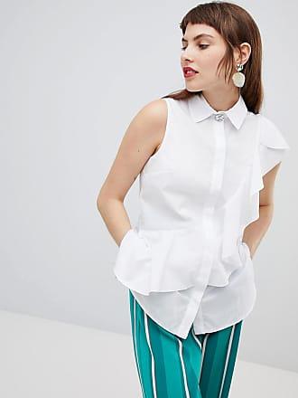 River Island Vit ärmlös skjorta med volanger - Vit 3f66215c91135