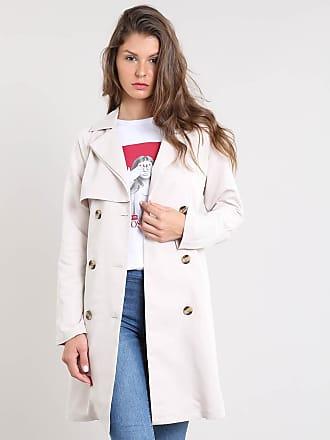 C&A Casaco Trench Coat Feminino com Botões e Fivela Bege Claro