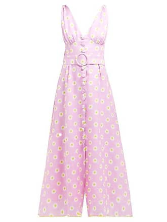 Gül Hürgel Belted Daisy Print Linen Midi Dress - Womens - Pink Print
