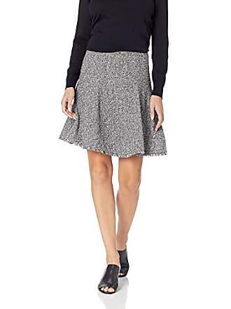 Ellen Tracy Womens Seamed Flare Skirt, Black/White Combo, 2