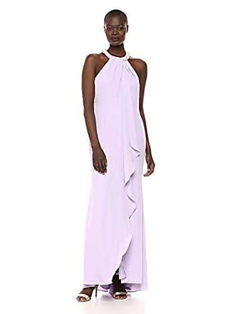 Calvin Klein Womens Halter Neck Gown with Draped Front & Beading, Opal, 6