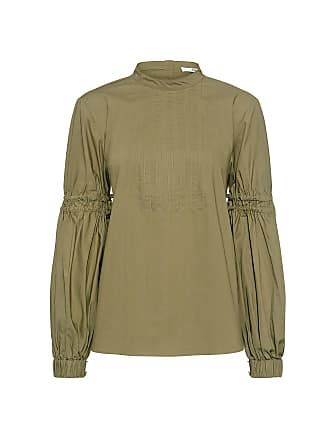Tibi Sculpted Mock Neck Ballon Sleeve Top Green