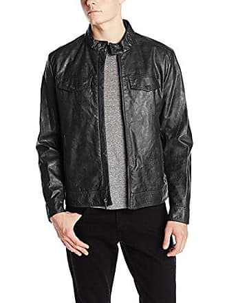 Kenneth Cole Reaction Mens Marble Faux Leather Moto Jacket, Black, Small