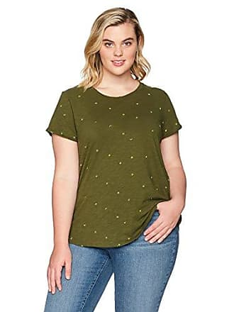 Lucky Brand Womens Embroidered Plus-Size Tee, Dark Olive, 2X