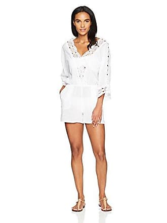 La Blanca Womens V-Neck Lace Romper Cover Up Dress, White, Extra Small