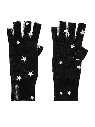 Autumn Cashmere Star Fingerless Gloves in Black