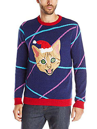 Blizzard Bay Mens Light up Lazer Kitty Ugly Christmas Sweater, Navy/Red, X-Large