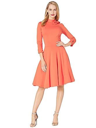 Unique Vintage Pantone x Unique Vintage Bow Neck Knit Dress (Coral) Womens Dress