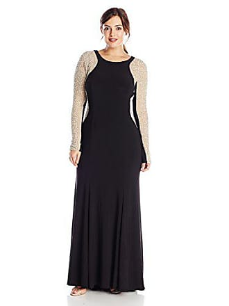 Xscape Womens Plus-Size Beaded-Sleeve Long Gown, Black/Nude/Silver, 14W