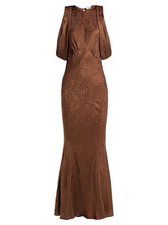Attico Cheetah Jacquard Silk Dress - Womens - Brown