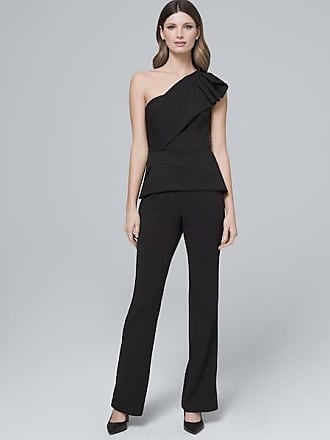 White House Black Market Womens Adrianna Papell One-Shoulder Black Peplum Jumpsuit by White House Black Market, Size 12