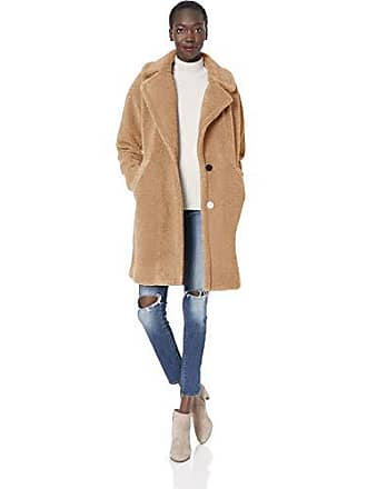 Kendall + Kylie Womens Single Breasted Coat, Camel Large