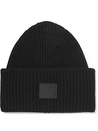 1a852a48cae Acne Studios Pansy Face Appliquéd Ribbed Wool Beanie - Black