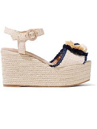 fcfb7f8e3 Castaner Castañer Woman Efedra Embellished Woven Raffia Espadrille Platform  Sandals Beige Size 39