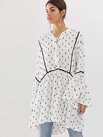 Y.A.S festival monochrome emroidered tunic mini dress - White