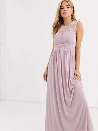Lipsy Vestito lungo lavanda arricciato con carré di pizzo e collo decorato-Viola