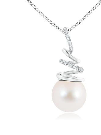 Angara Valentine Day Sale - Freshwater Cultured Pearl Spiral Ribbon Pendant