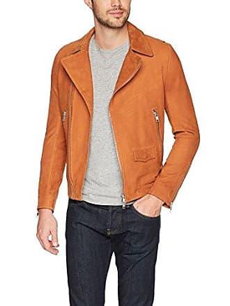 J.Lindeberg Mens Smooth Suede Moto Jacket, Glazed Ginger, Medium