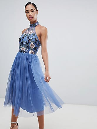 Maya floral embellished halter neck dress - Blue