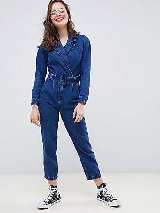 f5c5495318c1 Asos denim blazer jumpsuit in midwash blue - Blue