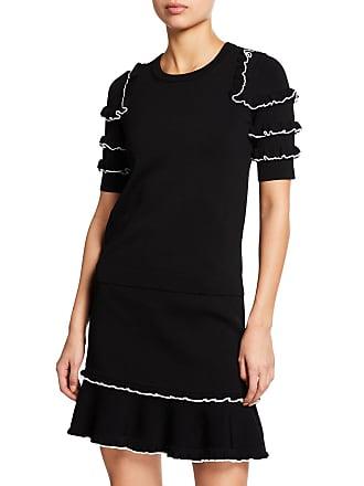 Michael Kors Crewneck Short-Sleeve Ruffle Sweater