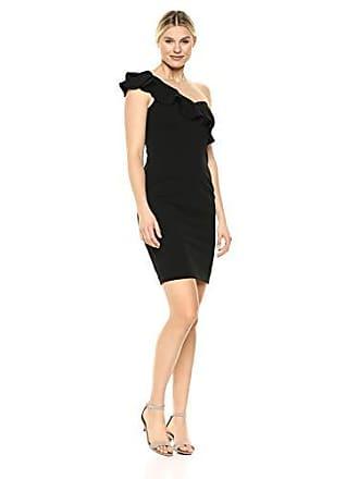 Calvin Klein Womens One Shoulder Sheath with Ruffle Arm Detail CD8B18PN, Black 2, 10