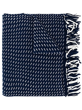 Woolrich embroidered fringed scarf - Azul