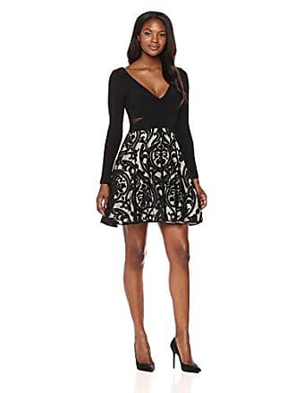 Xscape Womens Short Long Sleeve Ity with Flocked Party Skirt, Black/Stone, 2