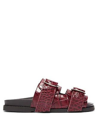 Ganni Double Strap Leather Slides - Womens - Burgundy