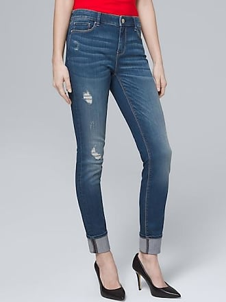 White House Black Market Womens Mid-Rise Destructed Skinny Ankle Jeans by White House Black Market, Medium Wash, Size 16 - Regular