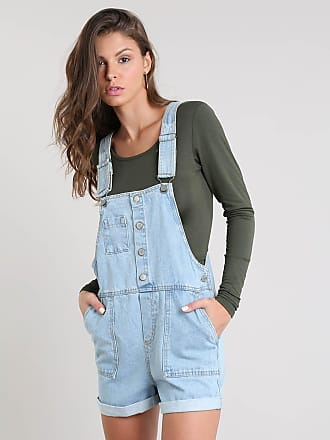 c41124768334f C&A Jardineira Jeans Feminina com Barra Dobrada Azul Claro