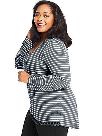Just My Size Lace Trim Long Sleeve Top White/Dada Grey Stripe 1X