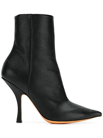 Y / Project Ankle boot de couro bico fino - Preto