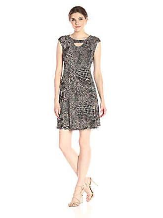 Gabby Skye Womens Cap Sleeve Scoop Neck Knit A-line Dress, Black/Espresso, Large