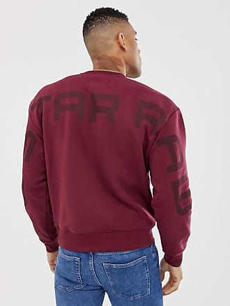 G-Star crew neck sweat with exploded back logo detail in burgundy - Red