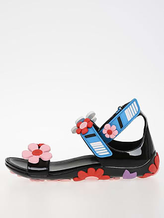 Prada Rubber Leather Sandals with Flower size 37,5
