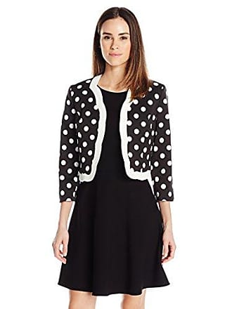 Kasper Womens Classic Dot Printed Flyaway Scalloped Jacket, Black/Vanilla Ice, 10