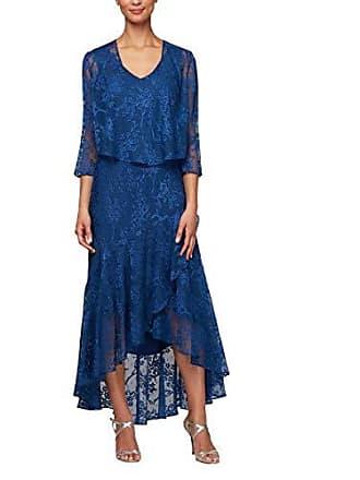 Alex Evenings Womens Tea Length Printed Chiffon Dress with Shawl, Royal, 16