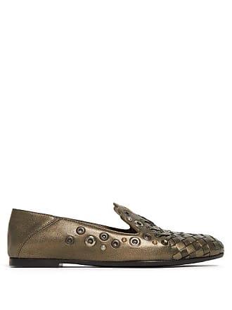 36fe504aa59dd Bottega Veneta Intrecciato Metallic Leather Loafers - Womens - Gold