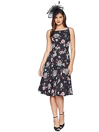 17d49b76fc Unique Vintage Harriet Swing Dress (Black Floral) Womens Dress